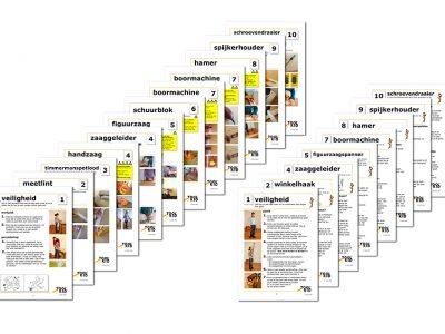Set van 12 instructiekaarten voor het gebruik van ToolKid kindergereedschap