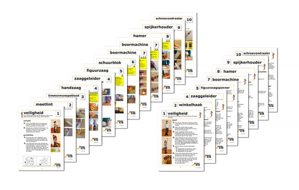 Kaartenset met gebruiksaanwijzing voor het gebruik van ToolKid kindergereedschap