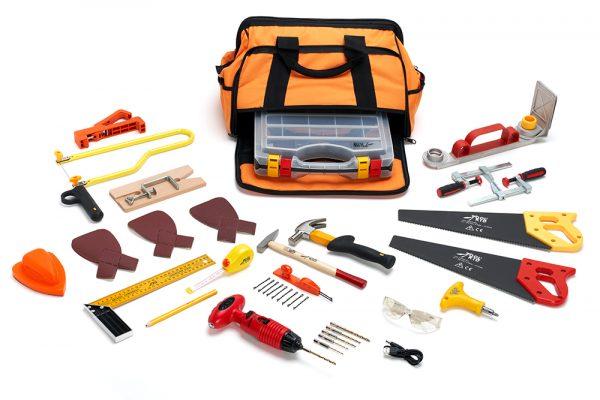 Een complete set met echt gereedschap waar kinderen vanaf 5 jaarzelfstandig en veilig mee aan de slag kunnen!
