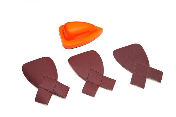 Lichtgewicht schuurblok met softgrip voor kinderen met schuurpapierset