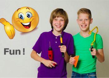 Jongens met ToolKid gereedschap